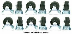 12 Pack 3 Caster Wheels Rubber Plate straight Movement Ships Today