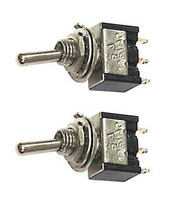 Pair Miniature Spdt Toggle Switches 2 Position On on 25006