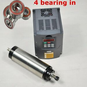 Four Bearing 65mm Er11 1 5kw Water cooled Spindle Motor And Vfd Drive Inverter