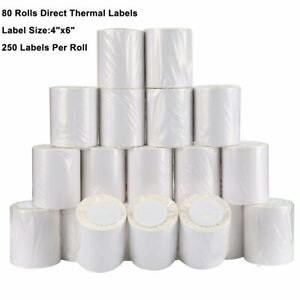 80 Rolls 4x6 Direct Thermal Labels 250 roll For Zebra Eltron Lp2844 Zp450