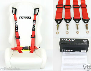1 Tanaka Universal Red 4 Point Buckle Racing Seat Belt Harness 2