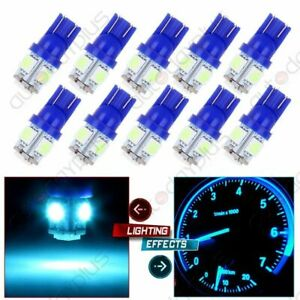 10x Ice Blue T10 Wedge 5 5050smd W5w 168 194 2825 175 Led Interior Light Bulbs