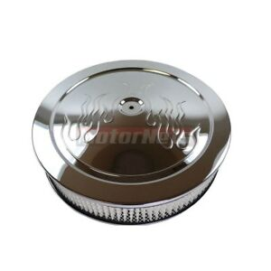14 Round Flame Chrome Steel Air Cleaner Muscle Car Style Chevy Ford Chrysler