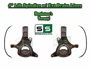 1999 2007 Chevy Silverado 1500 Gmc Sierra 2wd 4 Lift Spindles Brake Lines