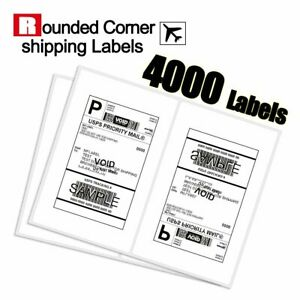 Rounded Corner 4000 Half Sheet Shipping Labels 8 5x5 5 Self Adhesive Usps Ups