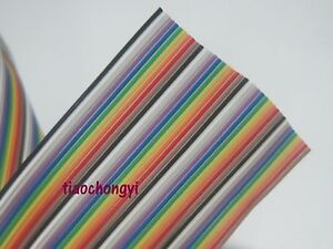 New 5m 16 4ft 40 Way Flat Color Rainbow Ribbon Cable Wire Rainbow Cable