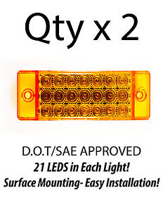 2 Amber 21 Led Side Marker Clearance Light Rectangle 12v Truck Trailer Camper