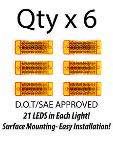 6 Amber 21 Led Side Marker Clearance Light Rectangle 12v Truck Trailer Camper