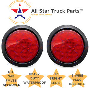 4 Inch Red 12 Led Round Stop Turn Tail Truck Light With Grommet Wiring Qty 2