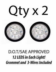 4 Inch White 12 Led Round Backup Tail Truck Light W Grommet Wiring qty 2