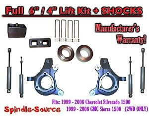 1999 2007 Chevy Silverado Gmc Sierra 1500 Spindle 6 Lift Kit 6 4 Shocks