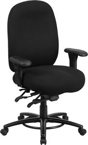 Big Tall 350lb capacity Black Fabric Multi functional Swivel Chair foot Ring