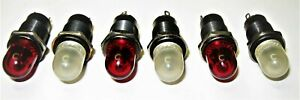 6 Vintage Dialight Dialco Panel Mount Indicator Pilot Lights Steampunk