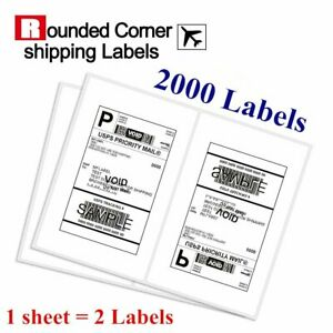 2000 Half Sheet Shipping Labels 8 5x5 5 Self Adhesive Round Corner For Paypal