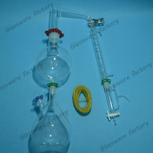 Glass Essential Oil Steam Distillation Apparatus allihn Condenser w clamps