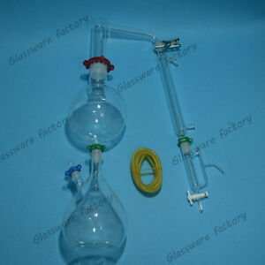Glass Essential Oil Steam Distillation Apparatus liebig Condenser w clamps