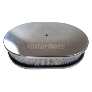12 Oval Polished Aluminum Air Cleaner Smooth Hot Street Rod Chevy Ford Mopar