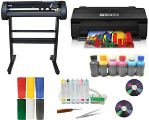 Metal Vinyl Cutter Plotter epson 1430 ciss dye Ink heat Press sign decal Bundle