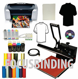 15x15 Heat Press Printer Ciss Dye Ink Transfer Tshirts Pu Vinyl Start up Bundle