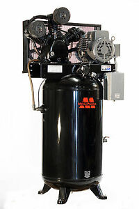 Baldor 7 5 Hp Single Phase Motor 80 Gal Vertical Air Compressor W Two Stage Pump