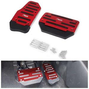 2x Red Universal Racing Sports Non Slip Automatic Car Gas Brake Pedals Pad Cover
