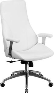 High Back White Leather Executive Swivel Office Chair Conference Office Chair