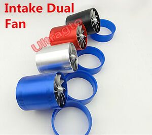 Universal 3 Turbo Cold Air Intake Hose Dual Fan Turbonator Fuel Gas Saver Red