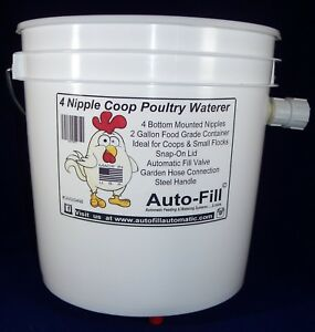 2 Pack automatic Hanging Chicken Waterer 4 Nipples 2 Gal Garden Hose Connection