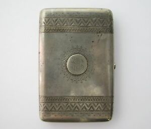 Imperial Russia Russian Silver Cigarette Case Marked Head 84 Engraved W Monogram