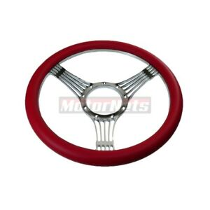 Red Banjo Camaro Impala Nova Hot Rod Steering Wheel Aluminum