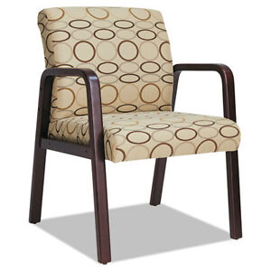 Alera Reception Lounge Guest Chair Mahogany tan Fabric Alerl4351m