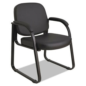 Alera Genaro Series Sled Base Guest Chair Black Vinyl Alerl43c16