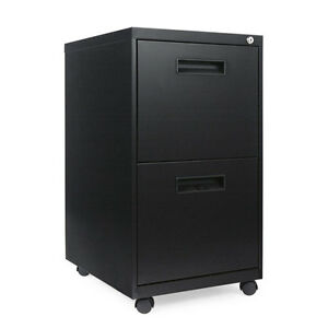 Alera 2 Drawer Metal Mobile File Cabinet 16w X 19 5d X 28 5h Black