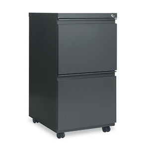 Alera 2 Drawer Metal Mobile File Cabinet 14 7 8w X 19 1 8d Charcoal