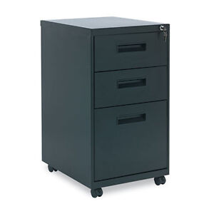 Alera 3 Drawer Metal Mobile File Cabinet 16w X 19 5d X 28 5h Black