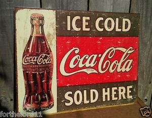 Vintage Coca Cola Sign Tin Metal Soda Pop Bottle Advertising Ice Cold Sold Here
