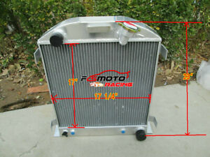 3 Row 62mm Aluminum Radiator For Ford 1932 Chopped Hot Rod W Chevy 350 V8 Engine