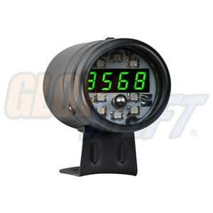 Glowshift Black Digital Tachometer Green Led Shift Light