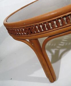 Vintage Mid Century Hollywood Regency Bent Woven Bamboo Rattan Cane Coffee Table