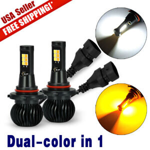 2x 9005 9006 White Amber Yellow Dual Color 12smd 3030 Led Fog Driving Light Bulb