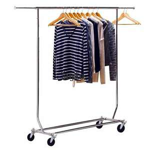 Usa Commercial Grade Clothing Garment Rolling Rack Clothes Movable Shelf Hanger