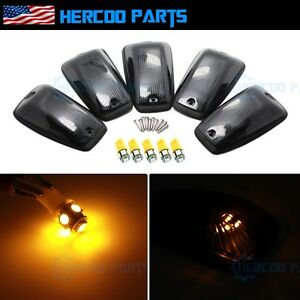 Roof Top Cab Lights Running Clearance Smoked Amber Led Bulb For Chevy Gmc 92 99