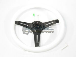 Nrg Classic Wood Grain Steering Wheel 350mm White green Glow With Black Center
