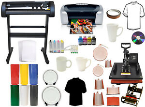8 In1 Combo Heat Press 500g Vinyl Cutter Plotter printer ciss mug Ink Kit Bundle