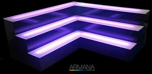 Armana Acrylic Corner Tier Led Lighted Liquor Shelf Display 4 h X 4 5 d New