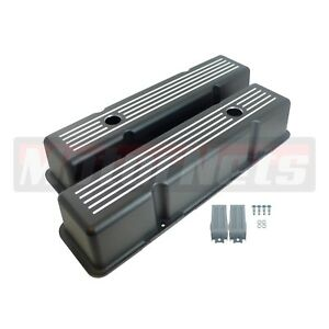 Black Aluminum Small Block Chevy Sbc 283 327 350 400 Ball Mill Tall Valve Cover