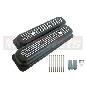 Black Small Block Chevy 305 350 Center Bolt Aluminum Valve Cover Ball Mi