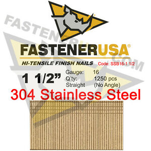 1 1 2 16 Gauge 304 Stainless Steel Straight Finish Nails 16 Ga 1250 Ct