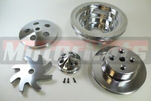 Polished Cnc Aluminum Big Block Chevy Crankshaft Alternator Power Pulley Kit Lwp