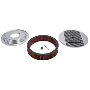 Edelbrock Air Cleaner Assembly 4266 Elite Ii Polished Aluminum Round 14 X 3